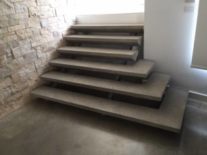Polished concrete floor and stairs